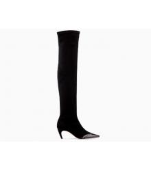 Ботфорты женские Christian Dior (Кристиан Диор) Spectadior замшевые каблук шпилька Black