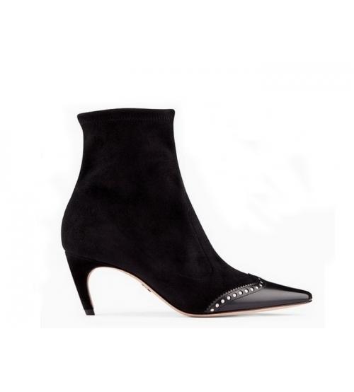 Ботильоны женские Christian Dior (Кристиан Диор) Spectadior замшевые каблук шпилька Black