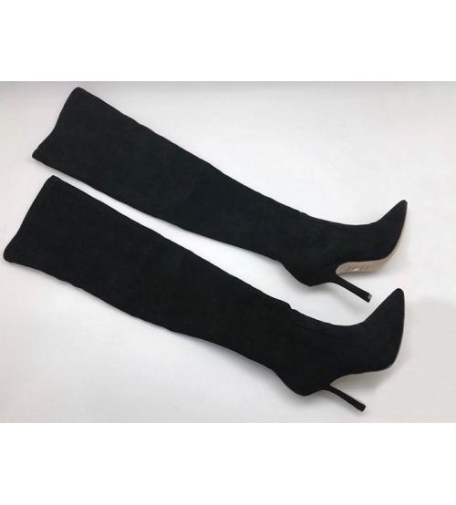 Ботфорты женские Christian Dior (Кристиан Диор) велюровые High Black