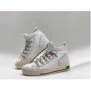 Женские кеды Christian Dior (Кристиан Диор) Walk'n' текстиль на шнурках White
