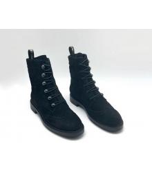 Женские ботинки Christian Dior (Кристиан Диор) замшевые на резинках Black