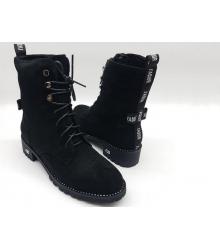 Ботинки зимние женские Christian Dior (Кристиан Диор) замшевые с мехом Black