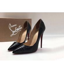 Женские туфли Christian Louboutin (Кристиан Лабутен) кожаные каблук шпилька Black