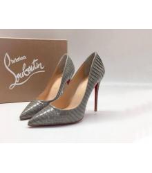 Женские туфли Christian Louboutin (Кристиан Лабутен) кожаные каблук шпилька Dark Gray