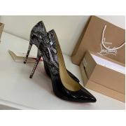Женские туфли Christian Louboutin (Кристиан Лабутен) кожаные каблук высокий шпилька Black/Gray