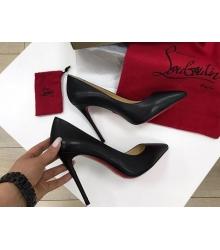 Женские туфли Christian Louboutin (Кристиан Лабутен) кожаные каблук высокий шпилька Black