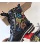 Ботинки женские Christian Louboutin (Кристиан Лабутен) кожаные со стразами Black