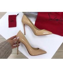 Женские туфли Christian Louboutin (Кристиан Лабутен) кожаные каблук высокий шпилька Beige