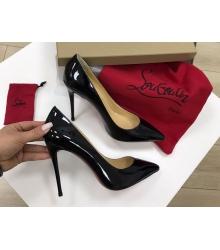 Женские туфли Christian Louboutin (Кристиан Лабутен) кожаные высокий каблук шпилька Black
