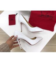 Женские туфли Christian Louboutin (Кристиан Лабутен) кожаные высокий каблук шпилька White