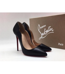 Женские туфли Christian Louboutin (Кристиан Лабутен) летние кожа каблук шпилька Black