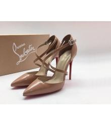 Женские туфли Christian Louboutin (Кристиан Лабутен) летние кожа лаковая каблук шпилька Beige