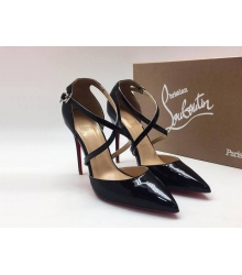 Женские туфли Christian Louboutin (Кристиан Лабутен) летние кожа лаковая каблук шпилька Black