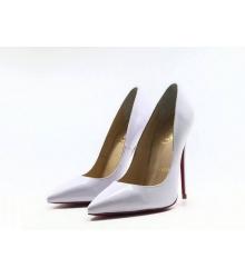 Женские туфли Christian Louboutin (Кристиан Лабутен) летние кожаные высокий каблук шпилька White