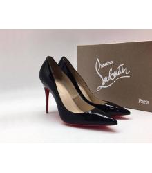 Женские туфли Christian Louboutin (Кристиан Лабутен) летние лаковая кожа каблук шпилька Black