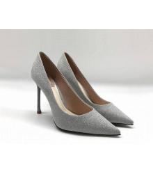 Женские туфли Christian Louboutin (Кристиан Лабутен) летние текстиль каблук шпилька Gray