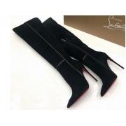 Сапоги женские Christian Louboutin (Кристиан Лабутен) замшевые на молнии высокий каблук Black