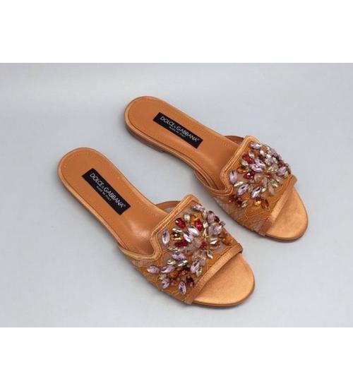 Шлепанцы женские Dolce&Gabbana (Дольче Габбана) Gold
