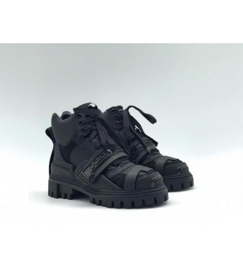 Женские ботинки Dolce&Gabbana (Дольче Габбана) кожаные на липучке и шнурках Black