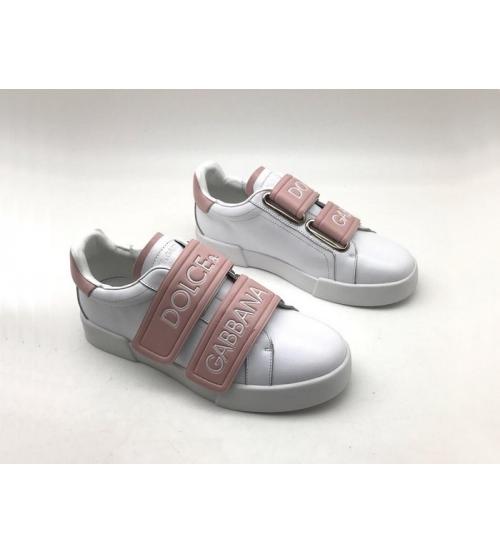 Женские кроссовки Dolce&Gabbana (Дольче Габбана) кожаные на липучке White/Pink