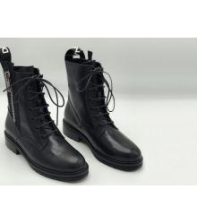 Ботинки женские Dolce&Gabbana (Дольче Габбана) кожаные на молнии Black
