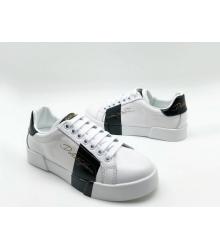 Женские кроссовки Dolce&Gabbana (Дольче Габбана) кожаные на шнурках White/Black