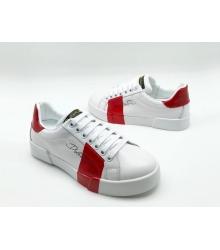 Женские кроссовки Dolce&Gabbana (Дольче Габбана) кожаные на шнурках White/Red