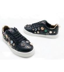 Женские кроссовки Dolce&Gabbana (Дольче Габбана) кожаные с кристаллами Black