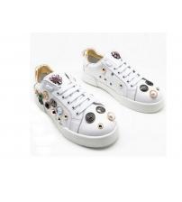 Женские кроссовки Dolce&Gabbana (Дольче Габбана) кожаные с кристаллами White