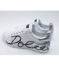 Женские кроссовки Dolce&Gabbana (Дольче Габбана) кожаные с логотипом White