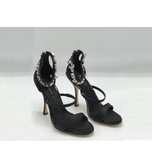 Женские босоножки Dolce&Gabbana (Дольче Габбана) летние каблук шпилька со стразами Black