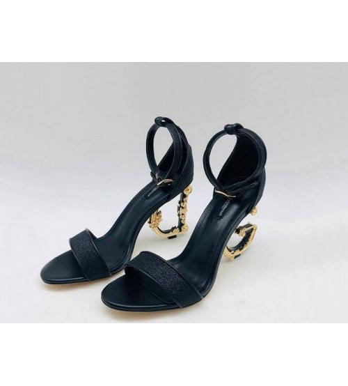 Женские босоножки Dolce&Gabbana (Дольче Габбана) летние каблук лого Black