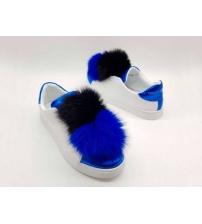 Женские кроссовки Dolce&Gabbana (Дольче Габбана) летние с помпонами White/Blue
