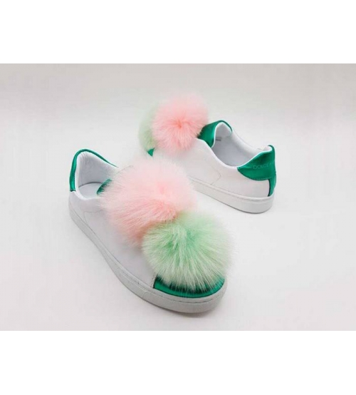 Женские кроссовки Dolce&Gabbana (Дольче Габбана) летние с помпонами White/Pink/Green