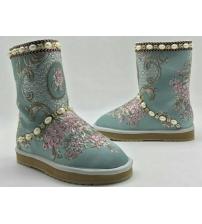 Угги женские Dolce&Gabbana (Дольче Габбана) Light Blue/Pink