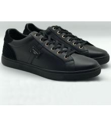 Кроссовки мужские Dolce&Gabbana (Дольче Габбана) Milano кожаные Black