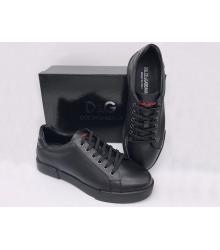 Мужские кроссовки Dolce&Gabbana (Дольче Габбана) Milano кожаные Black