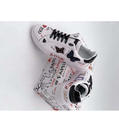 Женские кроссовки Dolce&Gabbana (Дольче Габбана) Milano кожаные принт бабочки White