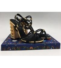 Босоножки Dolce&Gabbana (Дольче Габбана) на каблуке Black/Gold