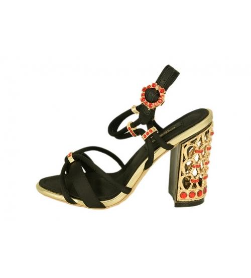 Женские босоножки Dolce&Gabbana (Дольче Габбана) на каблуке Black/Gold/Red