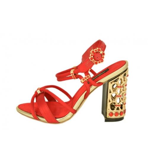 Женские босоножки Dolce&Gabbana (Дольче Габбана) на каблуке Red/Gold