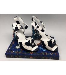Босоножки женские Dolce&Gabbana (Дольче Габбана) на каблуке White/Black