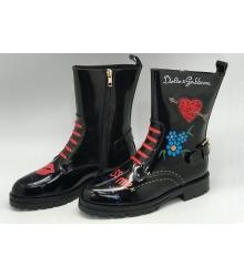 Женские полусапоги Dolce&Gabbana (Дольче Габбана) осенние лаковые кожаные Black