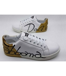 Женские кеды Dolce&Gabbana (Дольче Габбана) Portofino с принтом White/Gold