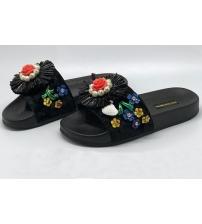 Шлепанцы женские Dolce&Gabbana (Дольче Габбана) с цветами Black