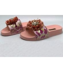 Шлепанцы женские Dolce&Gabbana (Дольче Габбана) с цветами Pink