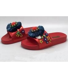 Шлепанцы женские Dolce&Gabbana (Дольче Габбана) с цветами Red