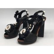 Босоножки женские Dolce&Gabbana (Дольче Габбана) с цветком Black