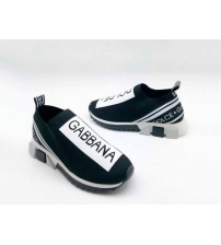 Женские кроссовки Dolce&Gabbana (Дольче Габбана) текстиль с принтом без шнуровки Bkack