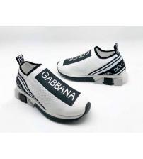 Женские кроссовки Dolce&Gabbana (Дольче Габбана) текстиль с принтом без шнуровки White